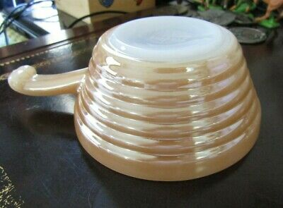Vintage Fire King BeeHive Patern Peach Luster Oven Ware- Handled Soup Bowl