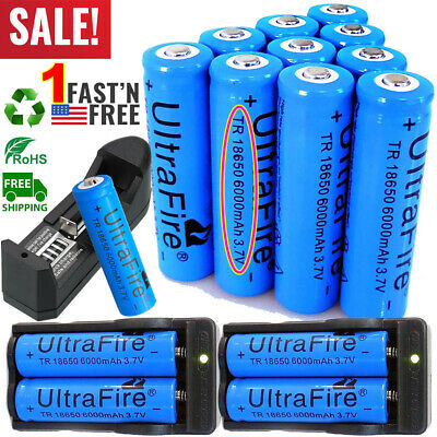 20X UltraFire 18650 Battery 3.7V 6000mAh Li-ion Rechargeable Batteries & Charger