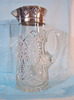 Antique Heavy Diamond Cut Pressed Glass Pitcher Silverplate rim top Water Wine