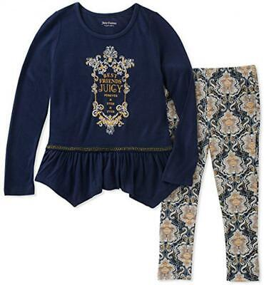 Juicy Couture Baby Girls Navy Blue Tunic 2pc Legging Set - 12 mos