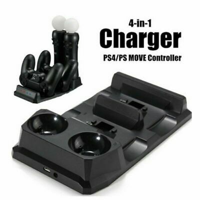 4 in 1 Dual Charger Dock Sony VR PS4 Playstation PSVR Charging Station Stand