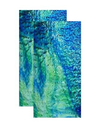 Transparent Stained Glass Sheets 100x200x3mm - x 2 Sheets Blue/Green Stipple