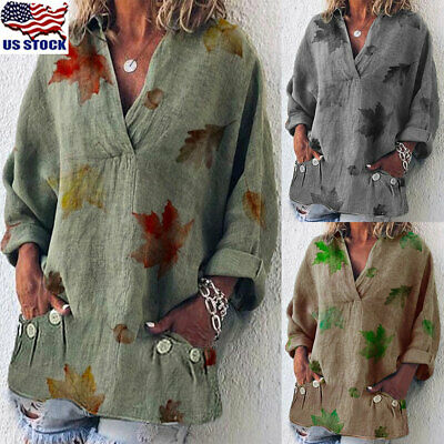 Women Loose Long Sleeve Pocket Tops Blouse Ladies V Neck Baggy Button T-Shirt US
