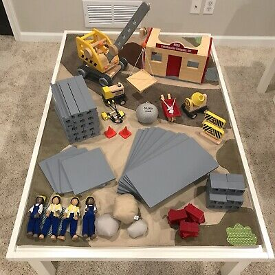 Pottery Barn Kids Wooden Construction & Crane Playset Lot