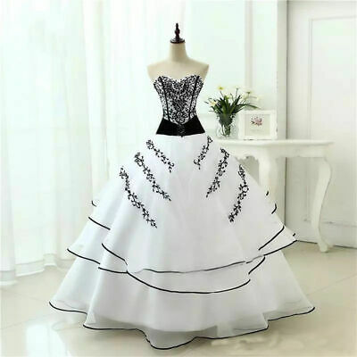 Gothic Vintage Applique Tiered Bridal Ball Gown Black and White Wedding Dresses