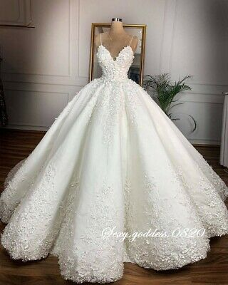Spaghetti Straps Lace Appliques Wedding Dresses Princess Ball Gown Bridal Gowns