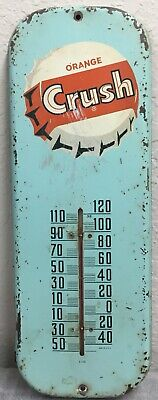 "VTG Orange Crush Soda Gas Station 16"" Metal Thermometer Sign 50's Advertising"