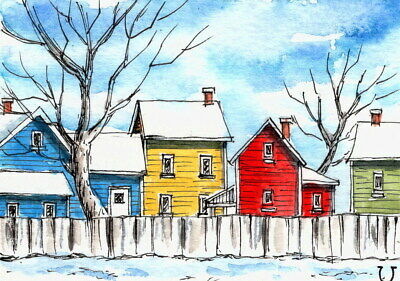 ACEO Original Watercolor Urban Sketch Colorful House in Winter/Line and Wash