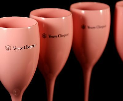 Veuve Clicquot Rose Champagne Poolside Hot Tub Polycarb Flutes New Unboxed X 4