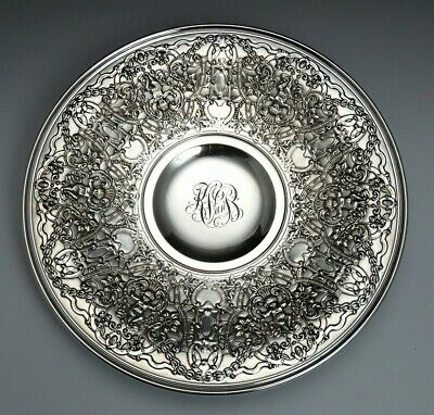 1925 Ornate Gorham Sterling Silver Chased Low Compote / Footed Bowl Tazza