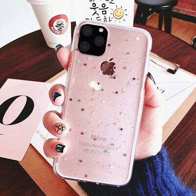 For iPhone 11 Pro Max 7 8 XR XS Crystal Bling Glitter Clear Gel Phone Case Cover