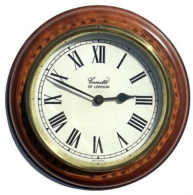 Comitti Of London Quartz Mahogany Inlaid Wall Clock With White Dial