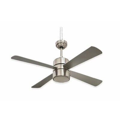 Kooper 120cm Illuminated 4 Blade Ceiling Fan with Remote, Metal Plastic Silver