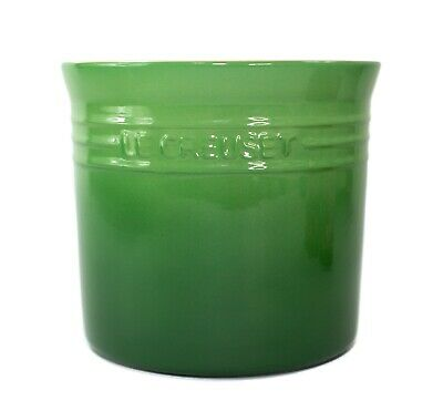 "Le Creuset Fennel Green Large 6"" Utensil Crock 2.25 QT Canister with Sticker"