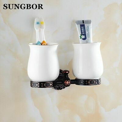 Black Brass Double Cup & Tumbler Holders Bathroom Accessories Toothbrush Holder