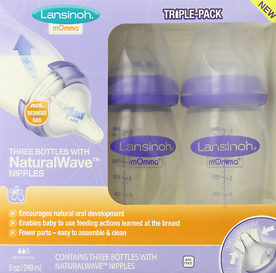 Lansinoh Breastfeeding Bottles with NaturalWave Nipple, 8 Ounces, Pack of 3, for