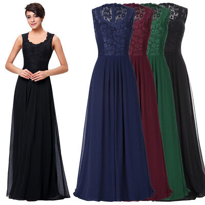 Womens Sleeveless V-neck Lace&chiffon Ball Gown Welding Party Dress 4color 8size