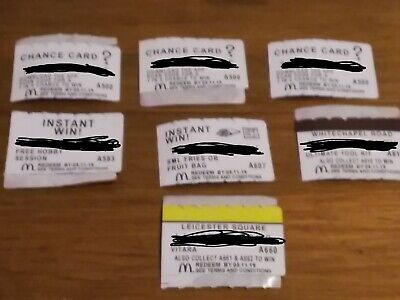 7  Mcdonald's Monopoly  cards 2019 never used good 🤞luck