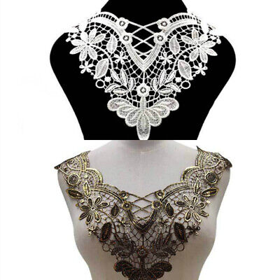 Floral Water Soluble Lace Collar Trim Embroidery Neckline Neck Applique Sewing