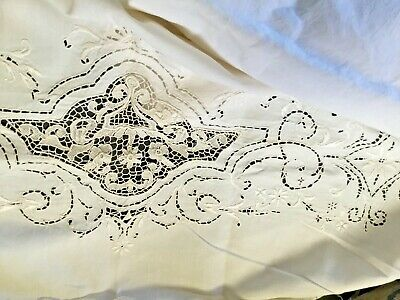 LINEN HAND EMBROIDERY CUTWORK BED sheet 70 x 92 inches