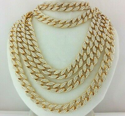 Iced 14k Gold Silver Miami Cuban Link Chain Necklace Choker Anklet Bracelet 15mm