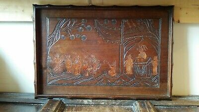 Beautiful Fine Antique Victorian Aesthetic Movement Chinese Wood Inlaid Tray