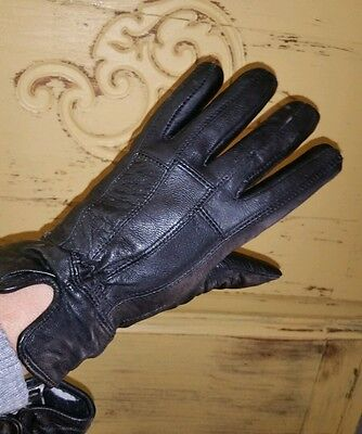 Ladies Black Lambskin Leather Thinsulate Insulated 40 Gram Gloves Driving Small