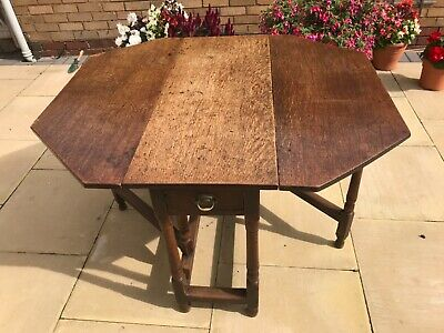 Antique Oak Hexagonal Dining Table