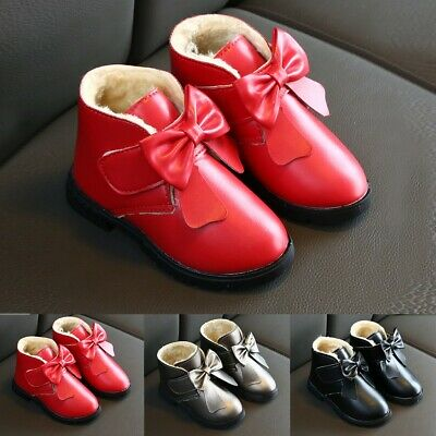 Girls Kids Toddler Children Ankle Boots Bowknot Non-Slip Warm Boots Martin Shoes