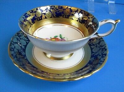 Paragon Cabinet Cup & Saucer Cobalt Blue Ring Lots Gold Accents Excellent Condit