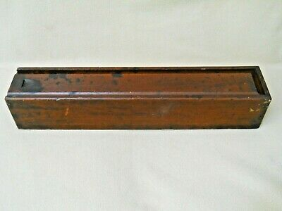 Antique Vintage Mahogany Box with  Sliding Lid & Hand Cut Dovetail Corners