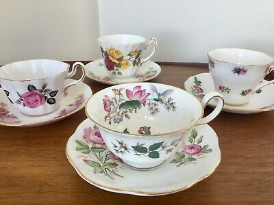 Mismatched English Bone China Tea Cups and Saucers Lot of 8 Tea Party MIXED SETS