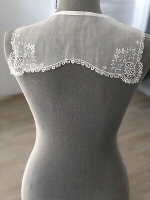 Antique Lace Collar Edwardian White Lawn Embroidered Bridal Project Floral 1910s