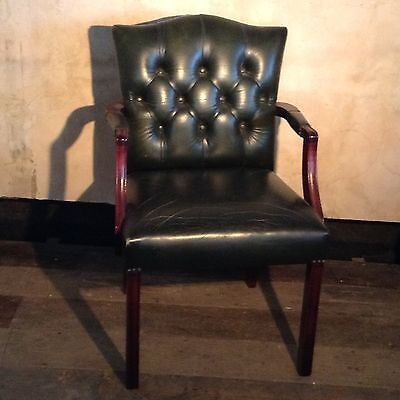 Country House Antiques Small Green Leather Chair