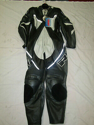 Richa Ladies One Piece Silver / Black / Grey Leather Motorcycle Suit - Uk 18