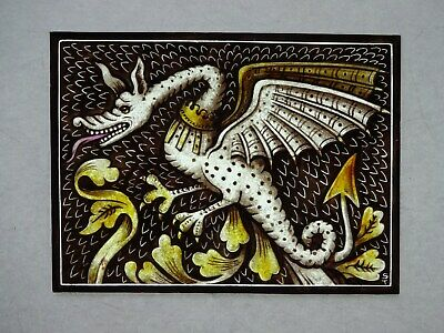 Beautiful Stained glassDRAGON Hand painted Kiln fired 175x130mm Antique style