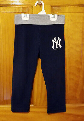 5th & Ocean Blue NEW YORK YANKEES Logo Cropped Yoga Pants Leggings Girls Size 8