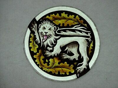 Beautiful Stained glass LION Hand painted Kiln fired Diameter-170mm Antique st