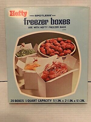 Vintage Hefty Freezer Boxes 1 Pint NOS Food Storage 20 Boxes 1 Quart Sealed New