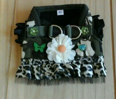 Designer size X- Small /chihuahua/camouflage & leaperd print  harness  dress.
