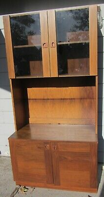 Gorgeous Vintage Mid Century Danish Modern Lighted Bookcase Cabinet Rosewood