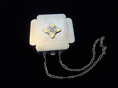 Ladies Antique Vintage Guilloche Enamel Etched Dance Compact Purse w Wrist Chain