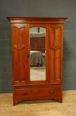 Antique Edwardian Mirror Door Wardrobe