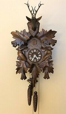 Vintage German Cuckoo Wood Carved Black Forest Wall Clock