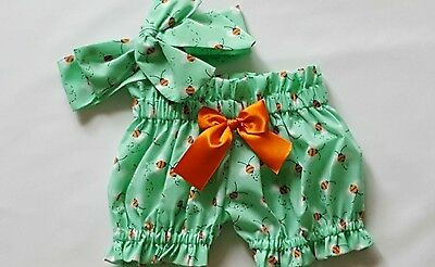 Beautiful Summer  Bee Print Baby's Bloomer and headwrap set girls clothes New