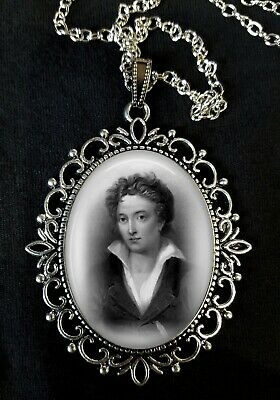 Percy Bysshe Shelley Large Silver Pendant Necklace Poet English Romanticism 19C