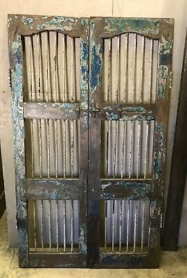 Architectural Salvage Solid Wood Antique Doors with Iron Bars, Wine Cellar Doors