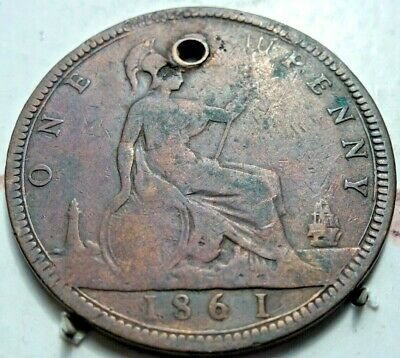 Great Britain Bun Head 1861 Queen Victoria One Penny Coin Scarce (515) With Hole