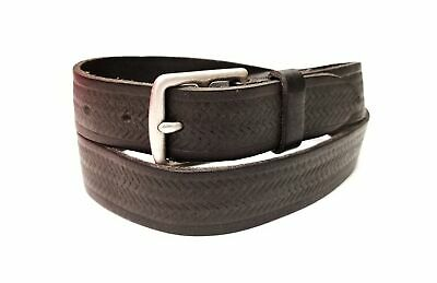 New Mens Bonobos Leather Belt size 34 dark brown chevron pattern silver buckle