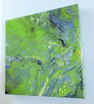 "Abstract Art 12x12x1.5 Painting Acrylic Fluid Pour ""Lilac Bush"" Deep Canvas"